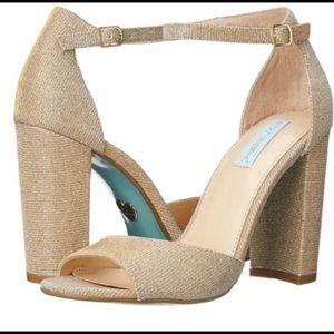 Betsey Johnson Carly Gold Metallic Block Heels 8